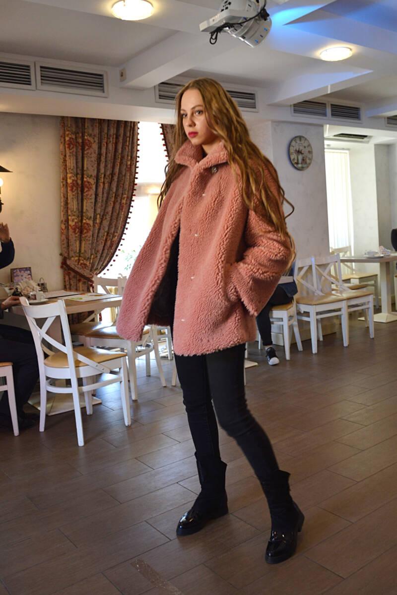 Шуба барашек розовая